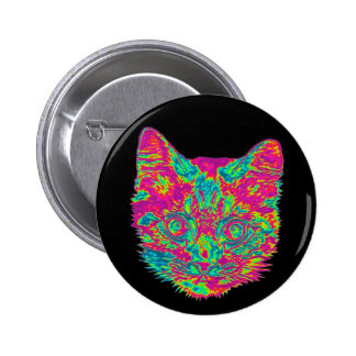 Psychedelic Cat Button (Standard)