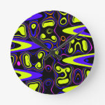 psychedelic cells yellow blue round wall clocks