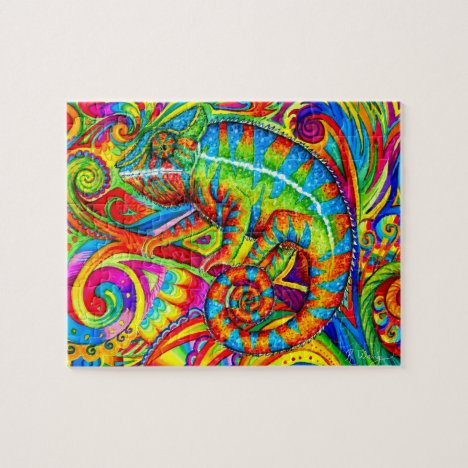 Psychedelic Chameleon Colorful Lizard Puzzle