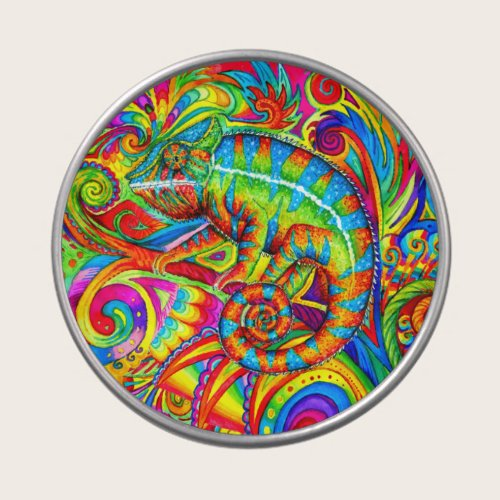 Psychedelic Chameleon Rainbow Lizard Candy Tin
