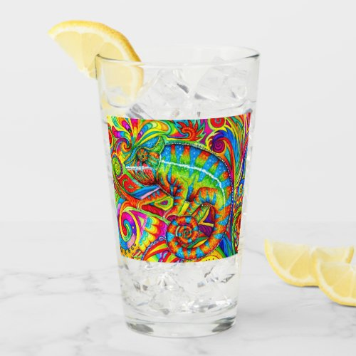 Psychedelic Chameleon Rainbow Lizard Glass Cup