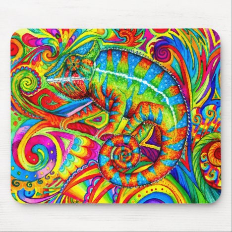Psychedelic Chameleon Rainbow Lizard Mouse pad