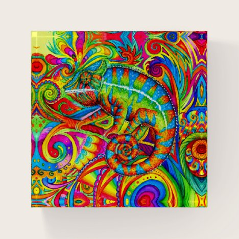 Psychedelic Chameleon Rainbow Lizard Paperweight