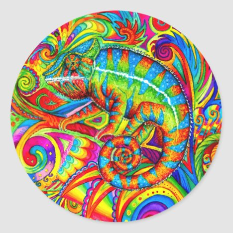Psychedelic Chameleon Rainbow Lizard Stickers