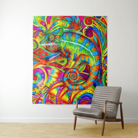 Psychedelic Chameleon Rainbow Lizard Tapestry