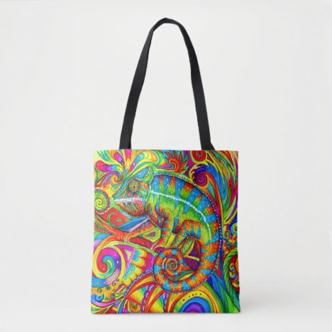 Psychedelic Chameleon Rainbow Lizard Tote Bag