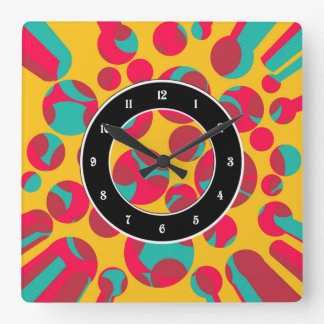 Psychedelic cheese square wall clock