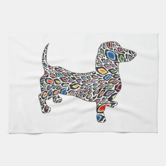 Psychedelic Cheetah Doxie Hand Towels