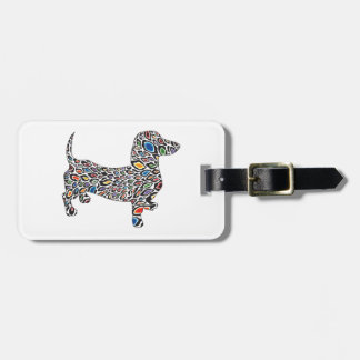 Psychedelic Cheetah Doxie Luggage Tag