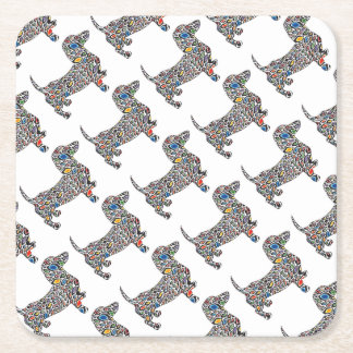 Psychedelic-Cheetah-Doxie Square Paper Coaster