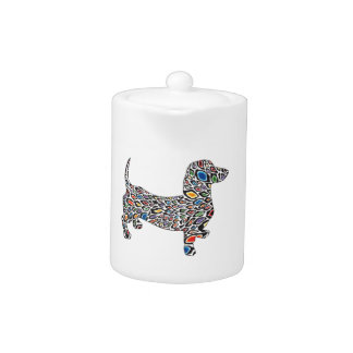Psychedelic Cheetah Doxie Teapot