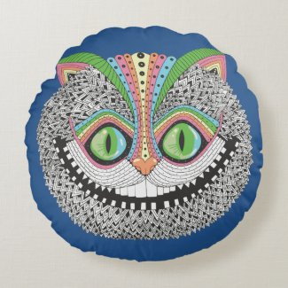 Psychedelic Cheshire Cat Round Pillow