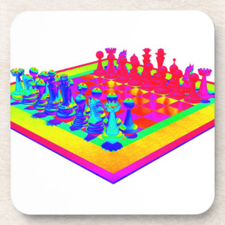 Psychedelic Chessboard and Chess Pieces Coaster