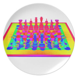 Psychedelic Chessboard and Chess Pieces Dinner Plates