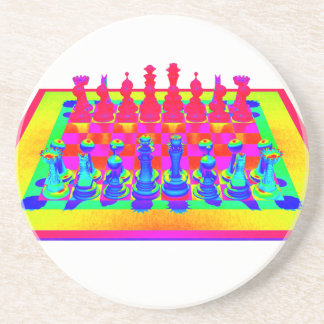 Psychedelic Chessboard and Chess Pieces Drink Coaster