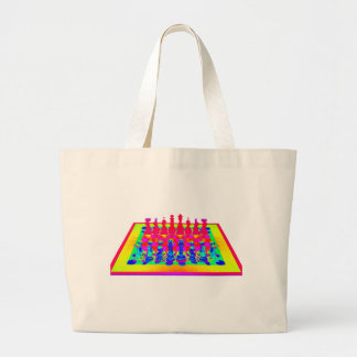 Psychedelic Chessboard and Chess Pieces Large Tote Bag