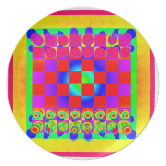Psychedelic Chessboard and Chess Pieces Melamine Plate
