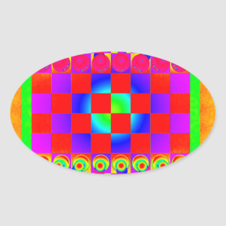 Psychedelic Chessboard and Chess Pieces Oval Sticker