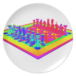 Psychedelic Chessboard and Chess Pieces Plate