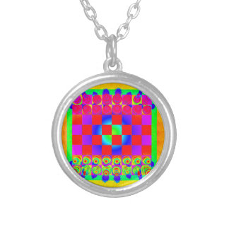 Psychedelic Chessboard and Chess Pieces Silver Plated Necklace