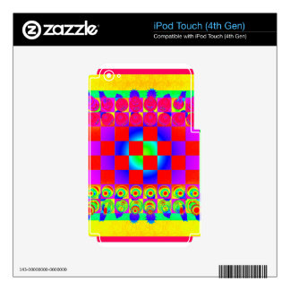 Psychedelic Chessboard and Chess Pieces Skins For iPod Touch 4G