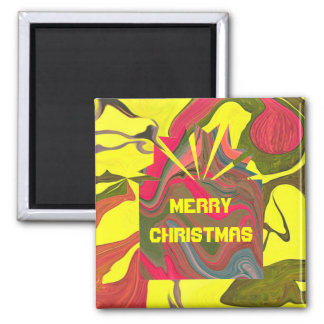 psychedelic christmas box 2 inch square magnet