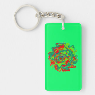 Psychedelic Christmas Flower Keychain