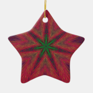 Psychedelic Christmas Kaleidoscope Ceramic Ornament