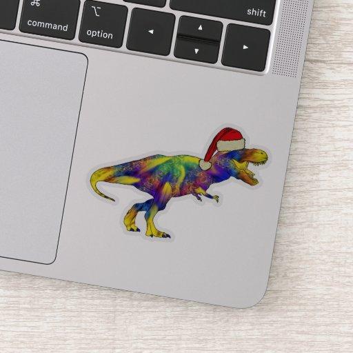 Psychedelic Christmas T Rex Festive Dinosaur kids Sticker