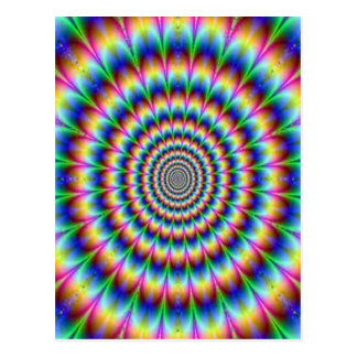 Psychedelic Circle Moving Illusion Dazzling Postcard