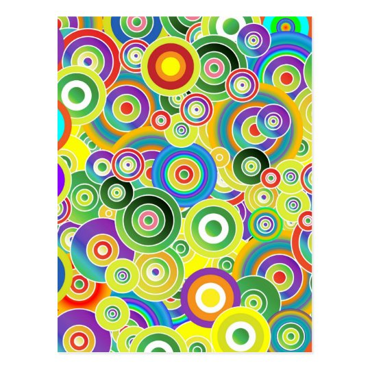 Psychedelic Circles of Colors - Cool Postcard