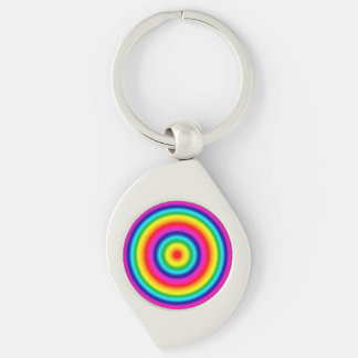 Psychedelic Circles Rainbow Pattern Keychain