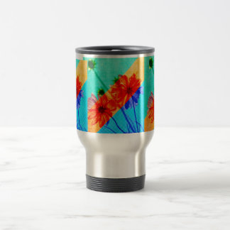 Psychedelic Collage Otherworldly Cosmos Flowers Travel Mug