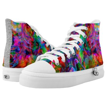 Beach Themed Psychedelic Color Swirl High-Top Sneakers