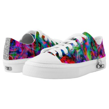 Beach Themed Psychedelic Color Swirl Low-Top Sneakers