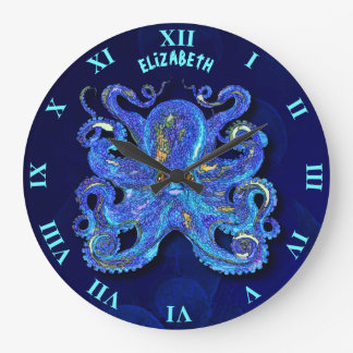 Psychedelic Colorful Blue Octopus With Brown Eyes Large Clock
