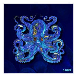Psychedelic Colorful Blue Octopus With Brown Eyes Poster