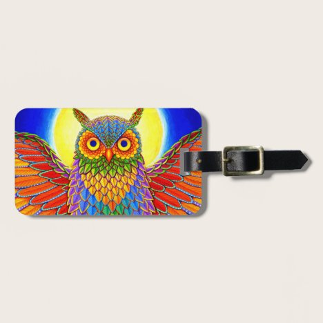 Psychedelic Colorful Rainbow Owl Luggage Tag