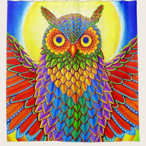 Psychedelic Colorful Rainbow Owl Shower Curtain