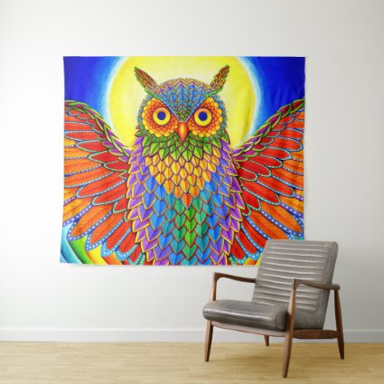 Psychedelic Colorful Rainbow Owl Wall Tapestry