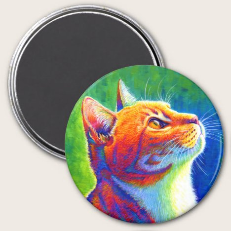 Psychedelic Colorful Rainbow Tabby Cat Magnet