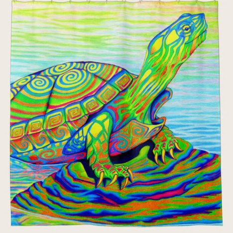 Psychedelic Colorful Rainbow Turtle Shower Curtain