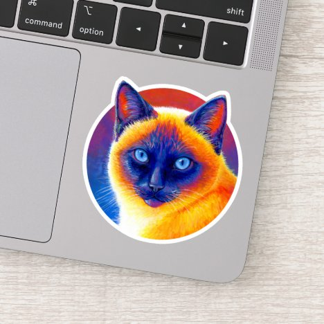 Psychedelic Colorful Siamese Cat Vinyl Sticker