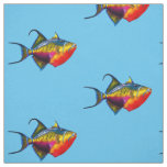 Psychedelic Colorful Triggerfish Fish Drawing Fabric