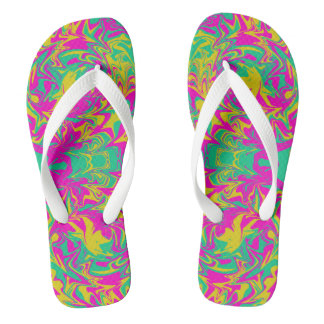 Psychedelic colors in pink, green and yellow flip flops