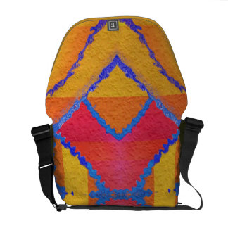 Psychedelic colors in red blue orange and green messenger bag