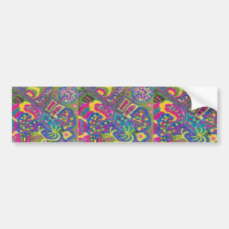 Psychedelic colors retro abstract art printed on bumper sticker