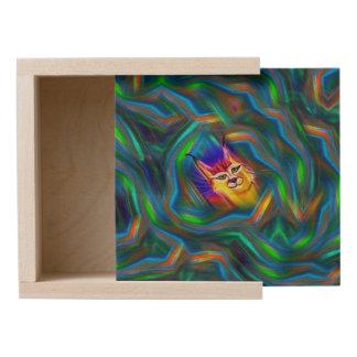 Psychedelic Colour Flow Lynx Portrait Wooden Keepsake Box