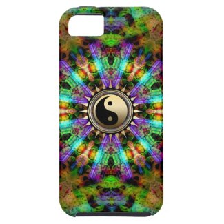 Psychedelic Colours Gold YinYang iPhone4 Case iPhone 5 Case