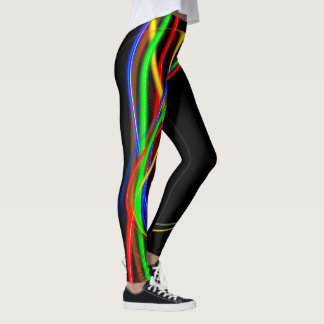 Psychedelic Cool Fractal Neon Glow Abstract Leggings